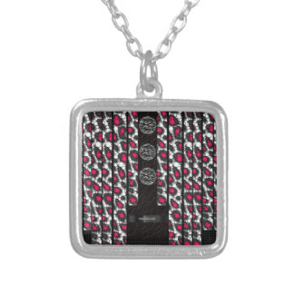 Fancy Pink Cheetah Zebra Square Pendant Necklace