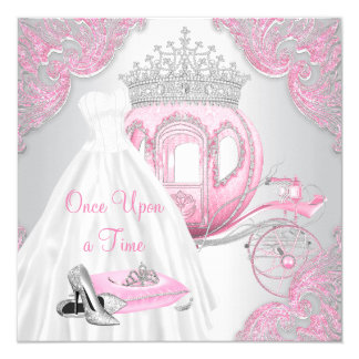 Fancy Pink Cinderella Princess Birthday Party Card