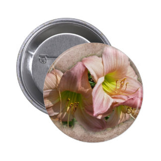 Fancy Pink Daylilies 6 Cm Round Badge