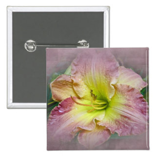 Fancy Pink Daylily Blossom 15 Cm Square Badge