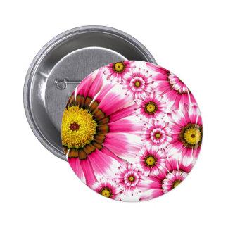 Fancy Pink Flowers Pinback Button