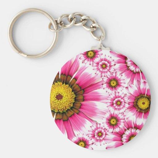 Fancy Pink Flowers Keychain