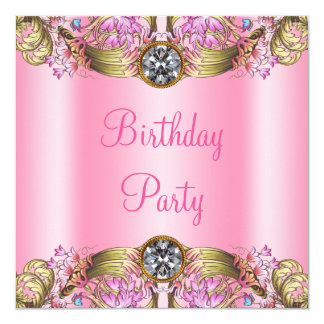 Fancy Pink Gold Birthday Party 13 Cm X 13 Cm Square Invitation Card