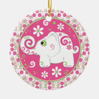 Fancy Pink Green Elephant and Floral Ornament