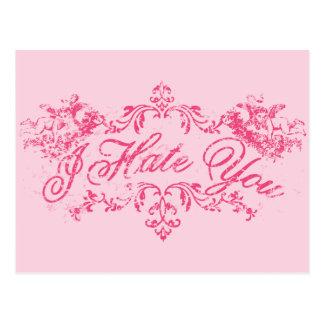 Fancy Pink I Hate You Postcard