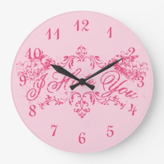 Fancy Pink I Hate You Round Wall Clock