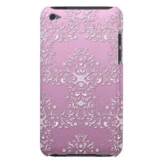 Fancy Pink Intricate Floral Damask iPod Case-Mate Case