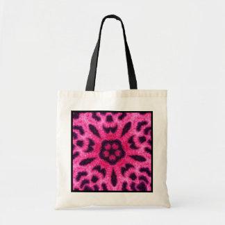 Fancy Pink Leopard Flower Kaleidoscope Budget Tote Tote Bag