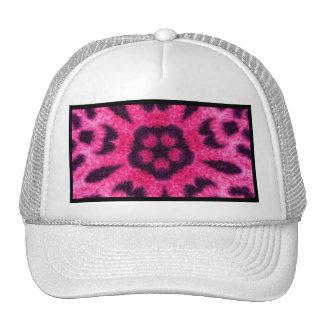 Fancy Pink Leopard Flower Kaleidoscope Mesh Hats