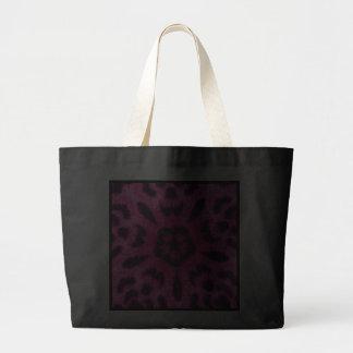 Fancy Pink Leopard Flower Kaleidoscope Jumbo Tote Canvas Bags
