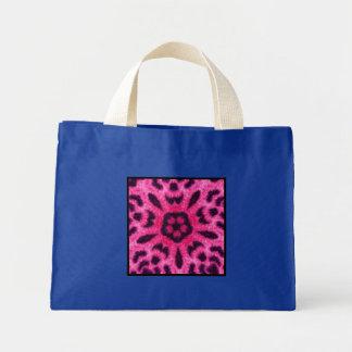 Fancy Pink Leopard Flower Kaleidoscope Small Blue Tote Bags