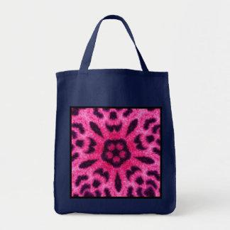 Fancy Pink Leopard Kaleidoscope Navy Blue Tote Bag