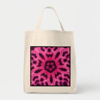 Fancy Pink Leopard Kaleidoscope Reusable Grocery Tote Bag