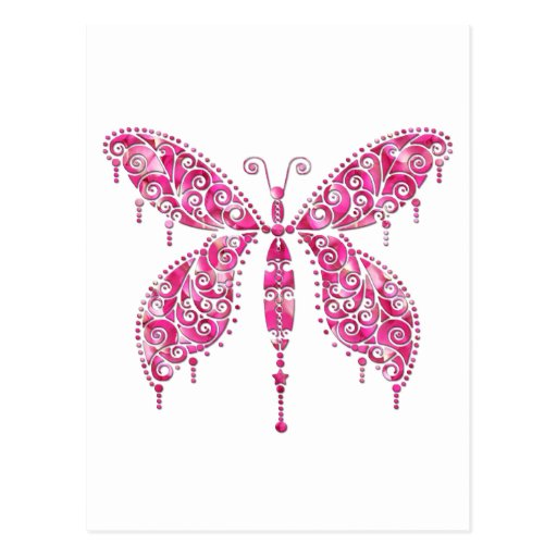 Fancy Pink Multicolored Butterfly Post Cards