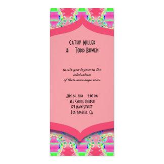 Fancy Pink Pattern Wedding 10 Cm X 24 Cm Invitation Card