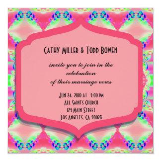 Fancy Pink Pattern Wedding 13 Cm X 13 Cm Square Invitation Card