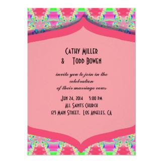 Fancy Pink Pattern Wedding 14 Cm X 19 Cm Invitation Card