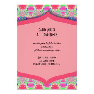 Fancy Pink Pattern Wedding 9 Cm X 13 Cm Invitation Card