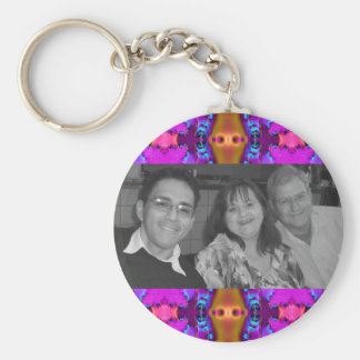 fancy pink photoframe basic round button key ring