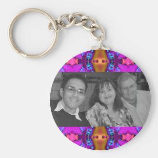 fancy pink photoframe basic round button key ring