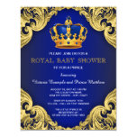 Fancy Prince Baby Shower Blue and Gold 11 Cm X 14 Cm Invitation Card