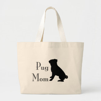 Fancy Pug Mom Large Tote Bag