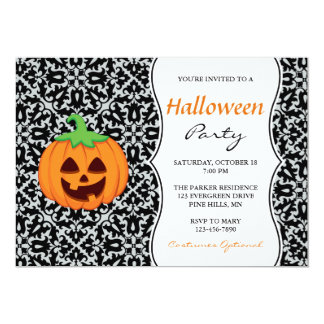 Fancy Pumpkin Halloween Party Invitations