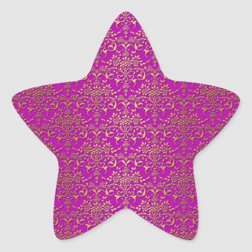 Fancy Purple and Gold Damask Pattern Star Stickers