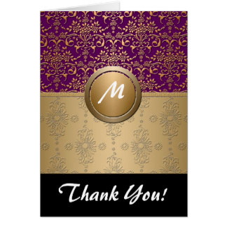 Fancy Purple and Gold Monogram Damask Pattern Note Card
