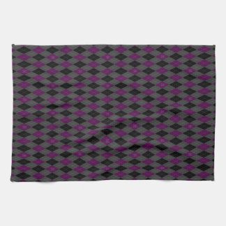 Fancy Purple Argyle Tea Towel