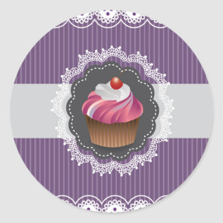 Fancy Purple Cupcake Round Sticker
