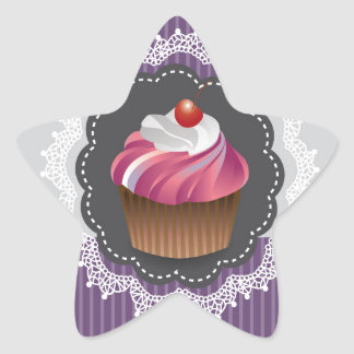Fancy Purple Cupcake Star Sticker