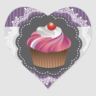 Fancy Purple Cupcake Heart Sticker