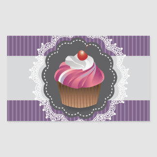 Fancy Purple Cupcake Rectangular Sticker
