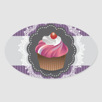 Fancy Purple Cupcake Oval Sticker