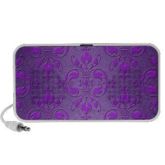 Fancy Purple Damask Pattern Mp3 Speakers