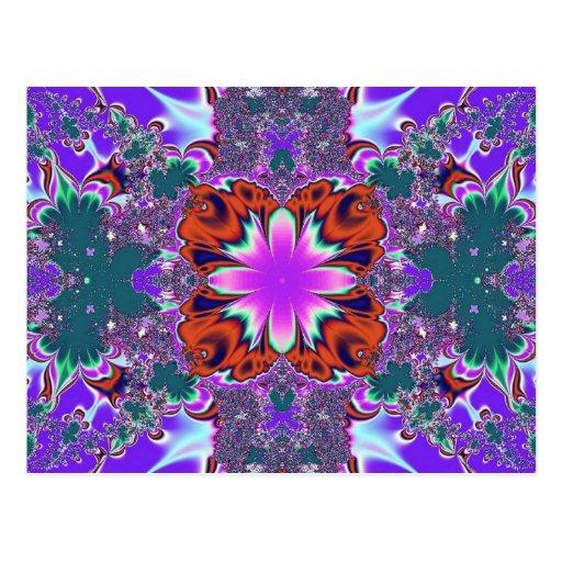 Fancy Purple Fractal postcard