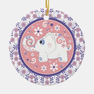 Fancy Purple Pink White Elephant Floral Ornament