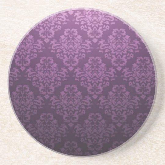 Fancy Purple Victorian Damask Pattern Coaster