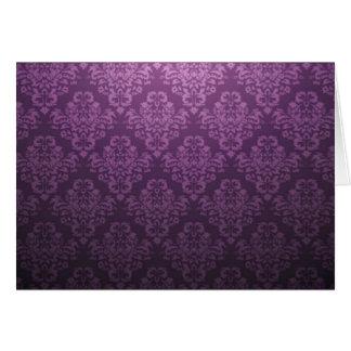 Fancy Purple Victorian Damask Pattern Greeting Card