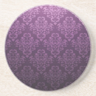 Fancy Purple Victorian Damask Pattern Sandstone Coaster