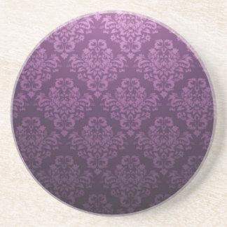 Fancy Purple Victorian Damask Pattern Sandstone Coaster
