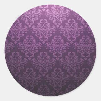 Fancy Purple Victorian Damask Pattern Stickers