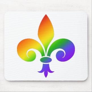 Fancy Rainbow Fleur de Lis Mouse Mat
