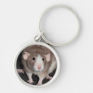 Fancy Rat Metal Keychain