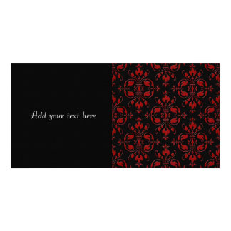 Fancy Red and Black Damask Picture Card