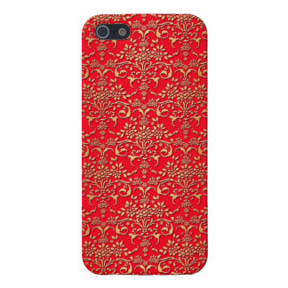 Fancy Red and Gold Damask Pattern iPhone 5/5S Cases