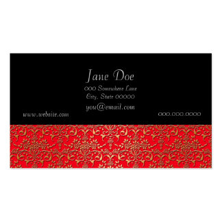 Fancy Red and Gold Damask Pattern Pack Of Standard Business Cards