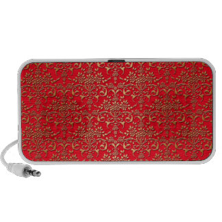 Fancy Red and Gold Damask Pattern Portable Speakers
