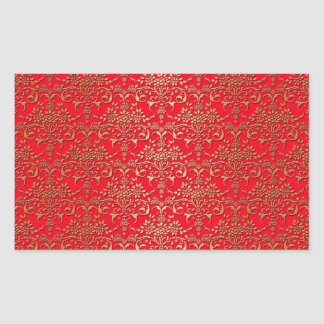 Fancy Red and Gold Damask Pattern Stickers